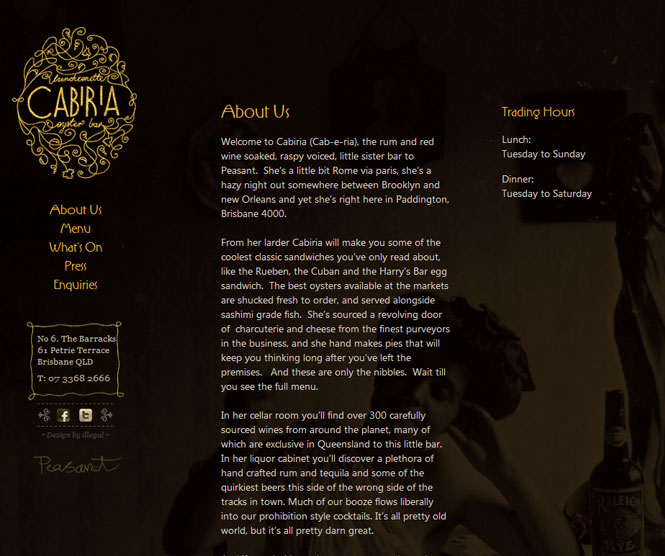 Cabiria Website Homepage