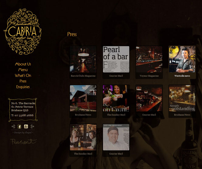 Cabiria Website press page