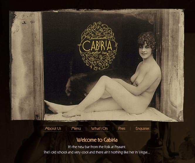 Cabiria Website Splash Page