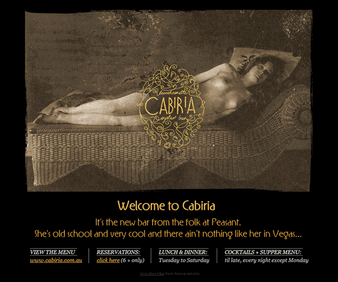 Cabiria welcome email
