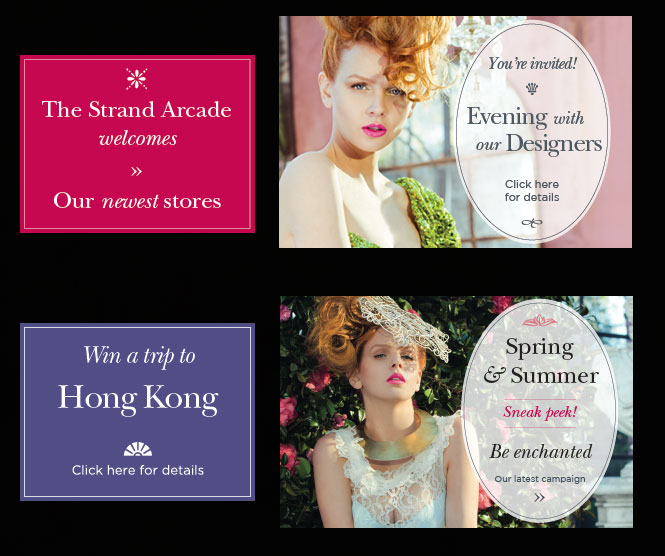 Strand Arcade website buttons
